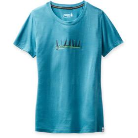 Smartwool Merino Sport 150 Skjorte Camping med venner grafisk Damer, blå